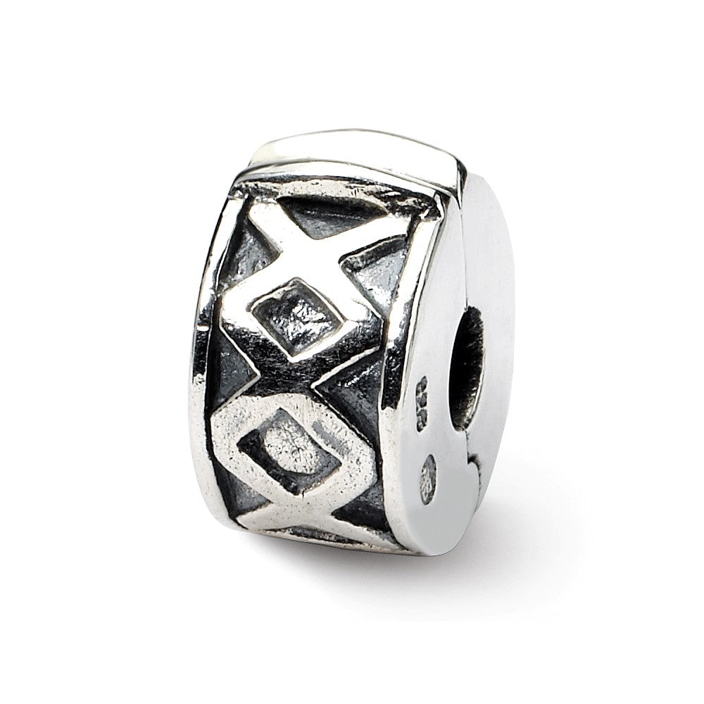 Sterling Silver Hinged X Clip Bead Charm, Item B8811 by The Black Bow Jewelry Co.