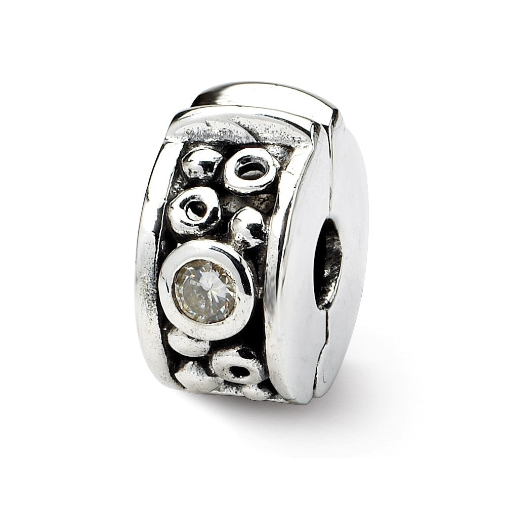 Hinged CZ and Dots Clip Charm in Silver for 3mm Bead Bracelets, Item B8828 by The Black Bow Jewelry Co.
