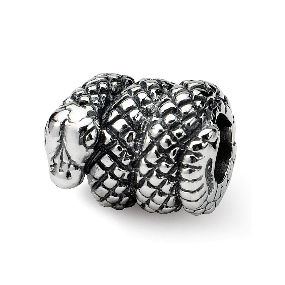 Sterling Silver Snake Bead Charm, Item B8846 by The Black Bow Jewelry Co.