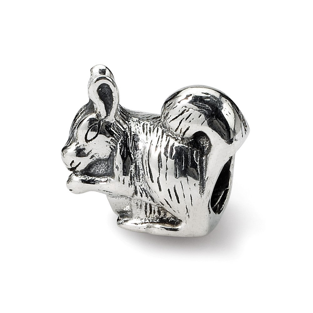 Sterling Silver Squirrel Nibbling Bead Charm, Item B8849 by The Black Bow Jewelry Co.