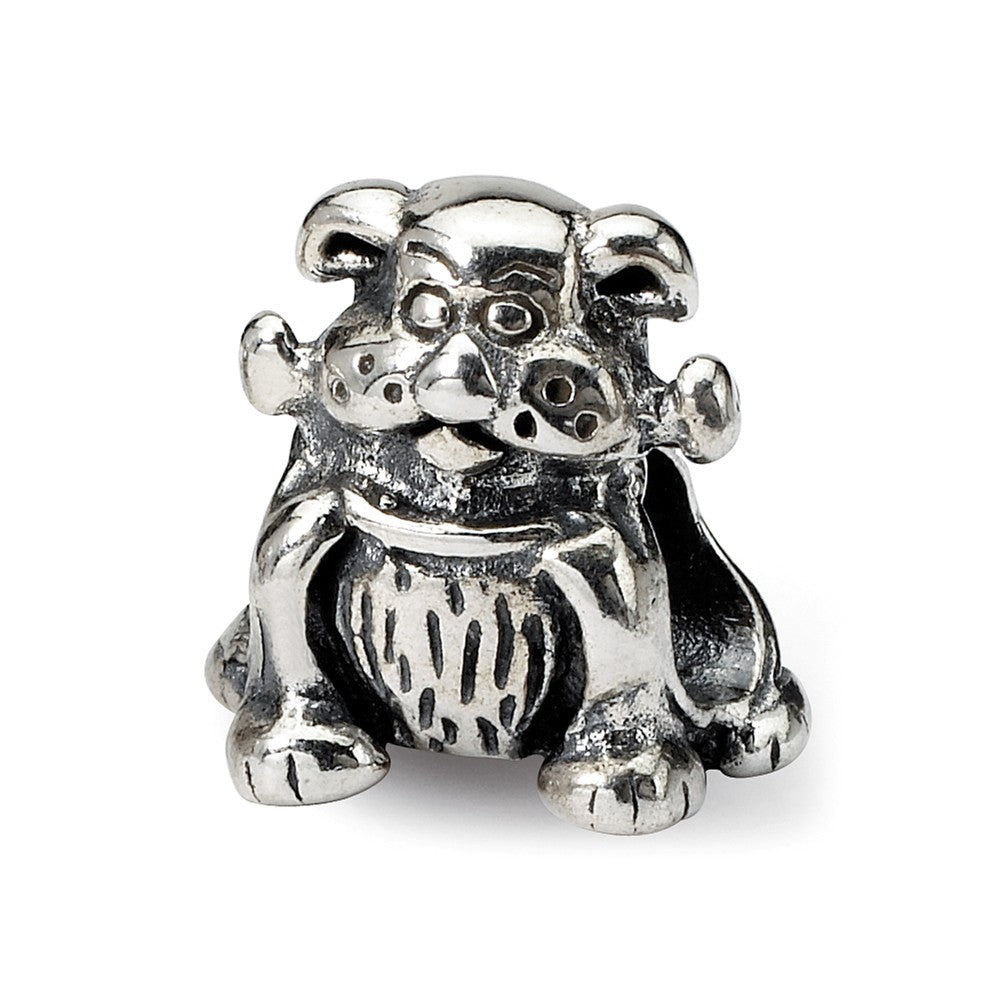 Sterling Silver Dog with a Bone Bead Charm, Item B8852 by The Black Bow Jewelry Co.