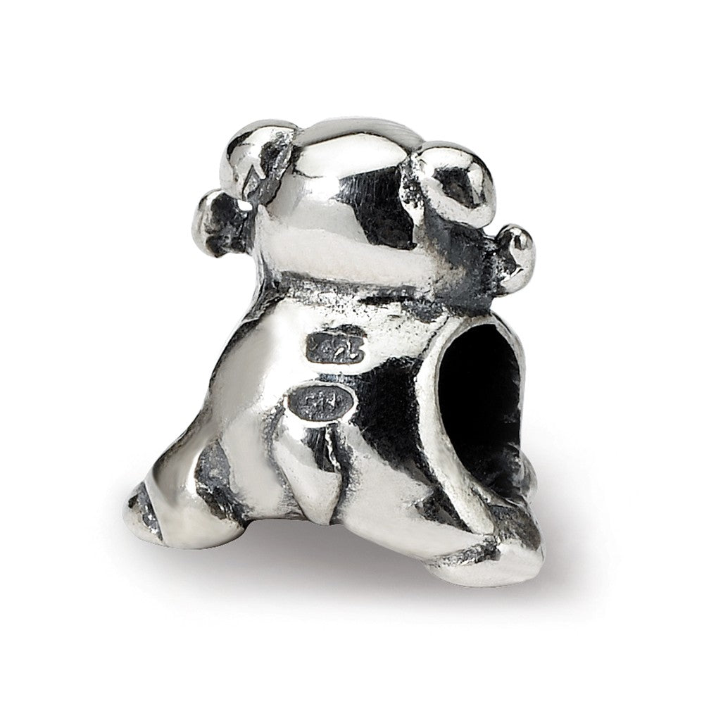 Alternate view of the Sterling Silver Dog with a Bone Bead Charm by The Black Bow Jewelry Co.