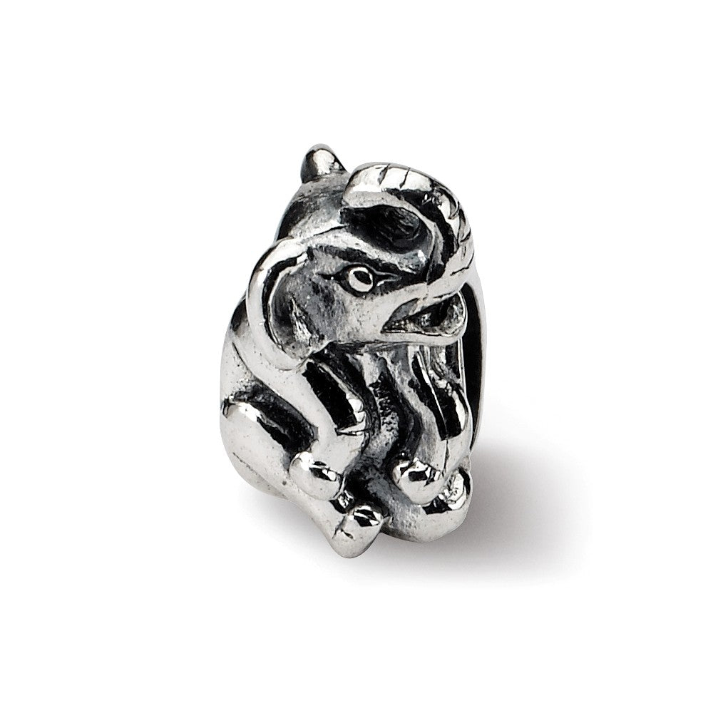 Sterling Silver Sitting Elephant Bead Charm, Item B8860 by The Black Bow Jewelry Co.