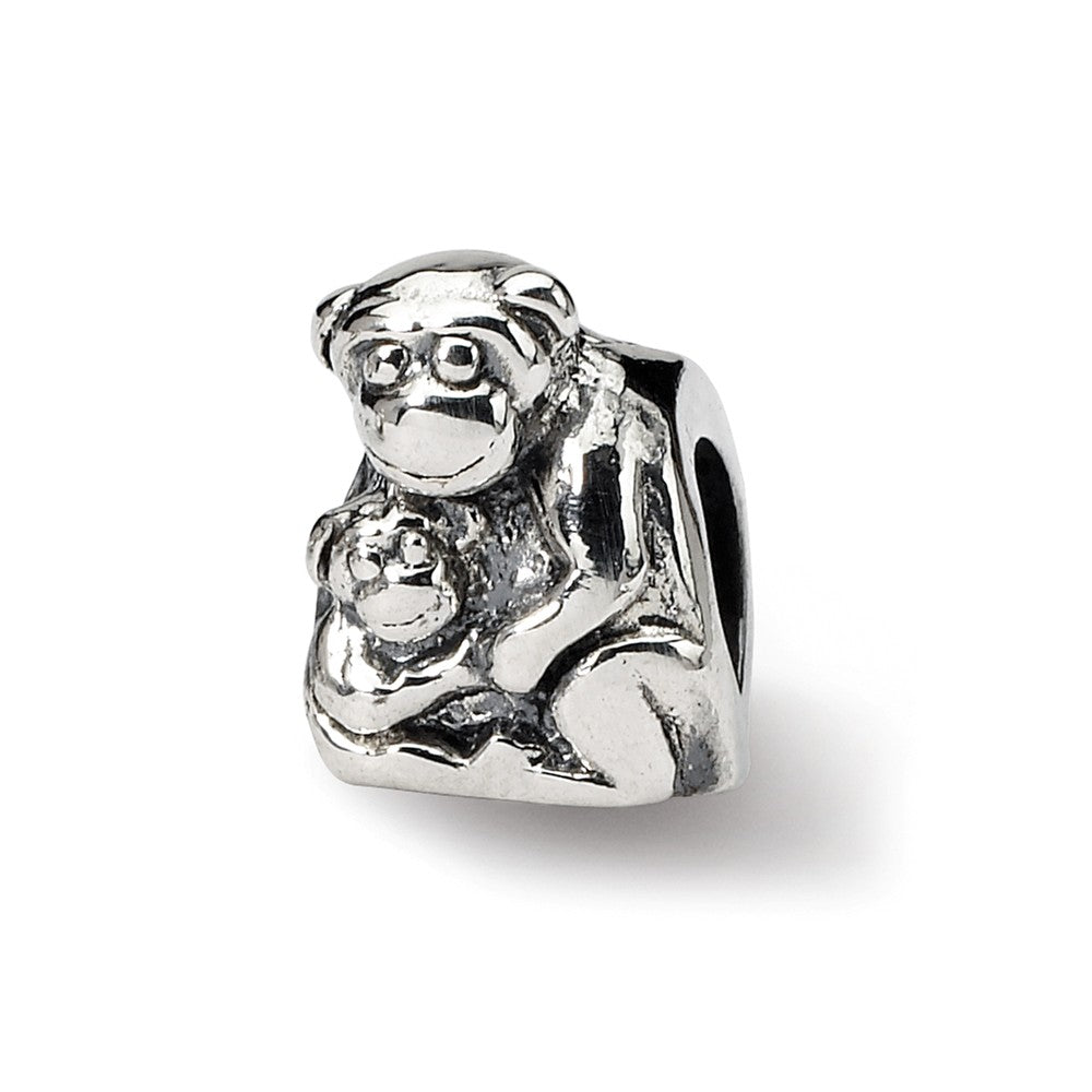 Sterling Silver Monkey and Baby Bead Charm, Item B8869 by The Black Bow Jewelry Co.