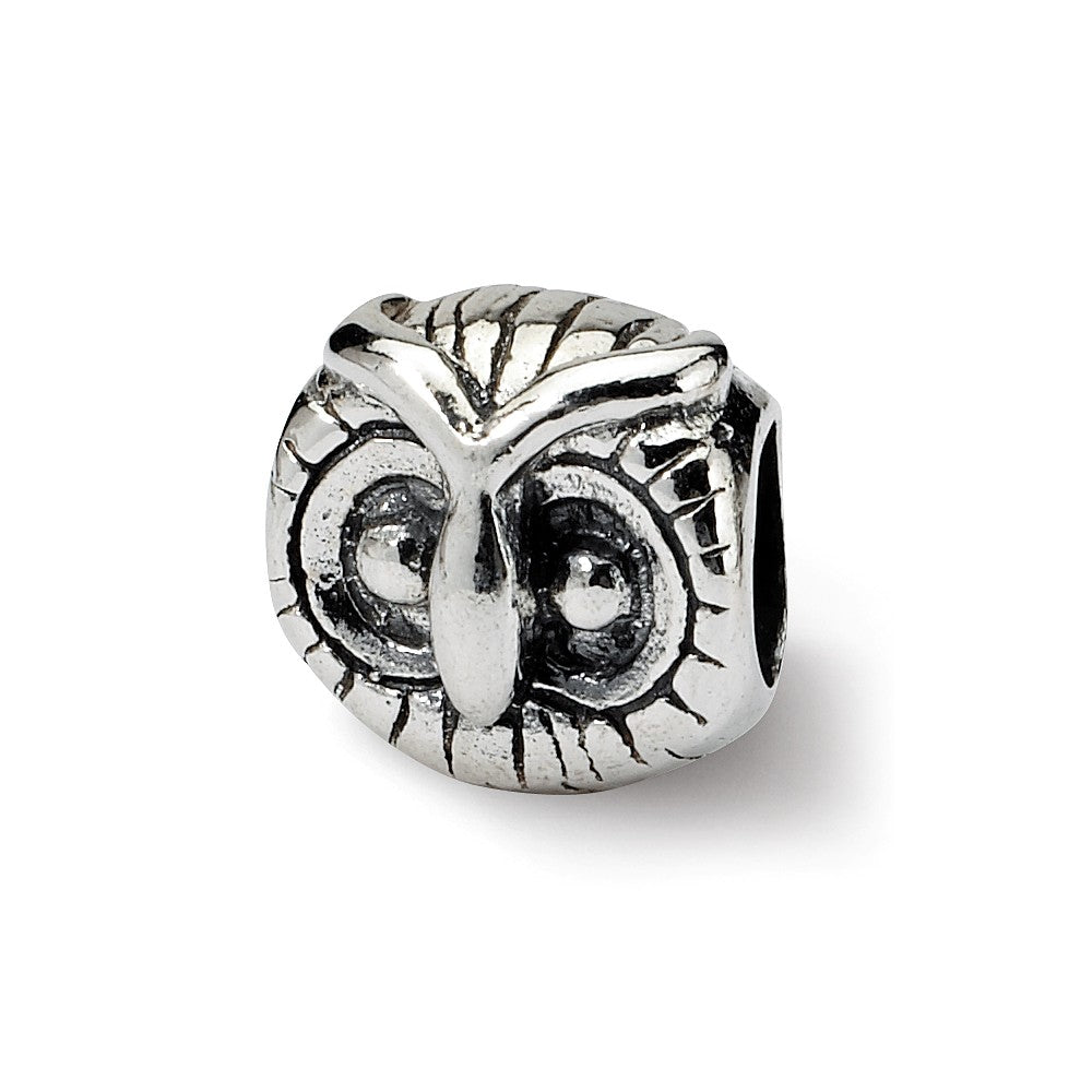 Sterling Silver Owl Head Bead Charm, Item B8883 by The Black Bow Jewelry Co.