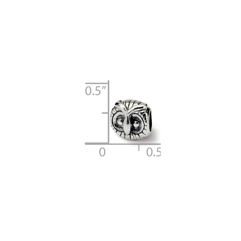 Alternate view of the Sterling Silver Owl Head Bead Charm by The Black Bow Jewelry Co.