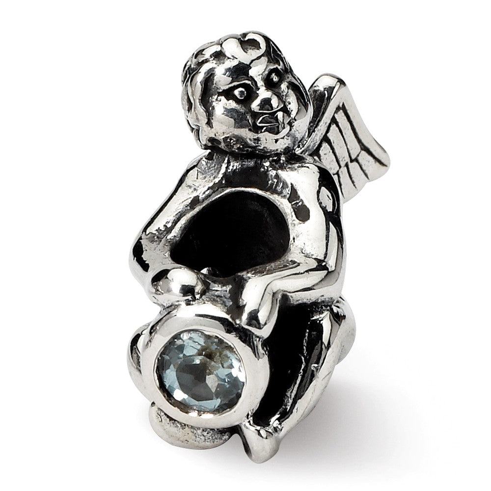 Sterling Silver March CZ Birthstone, Angel Bead Charm, Item B8898 by The Black Bow Jewelry Co.