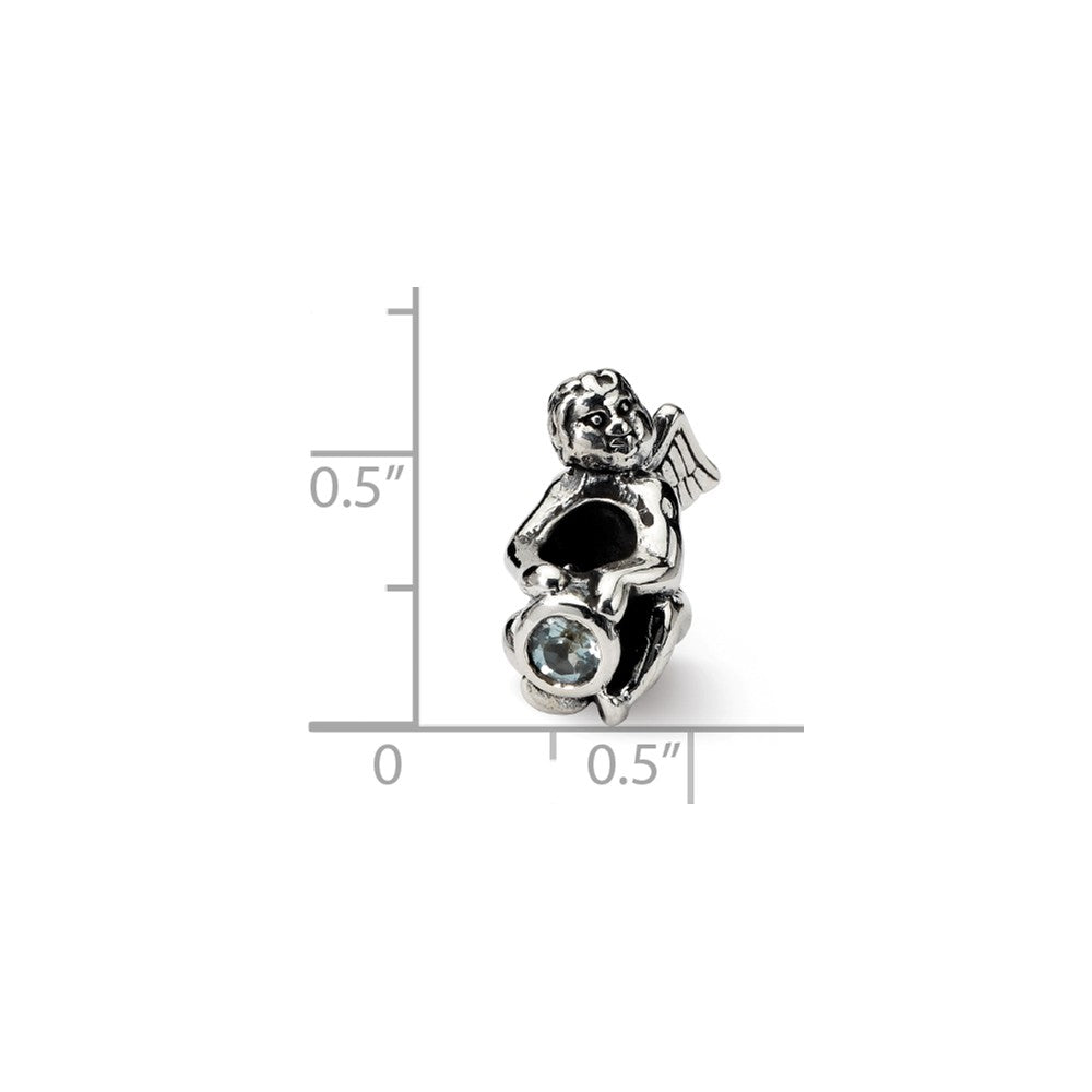 Alternate view of the Sterling Silver March CZ Birthstone, Angel Bead Charm by The Black Bow Jewelry Co.