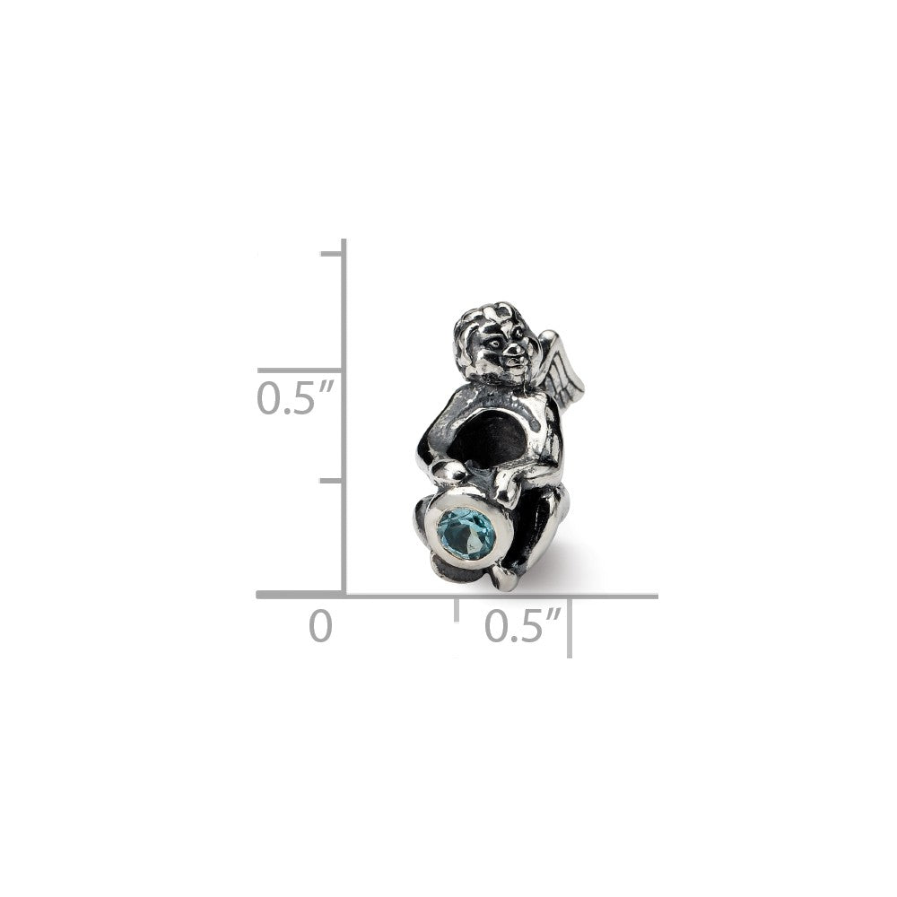 Alternate view of the Sterling Silver December CZ Birthstone, Angel Bead Charm by The Black Bow Jewelry Co.
