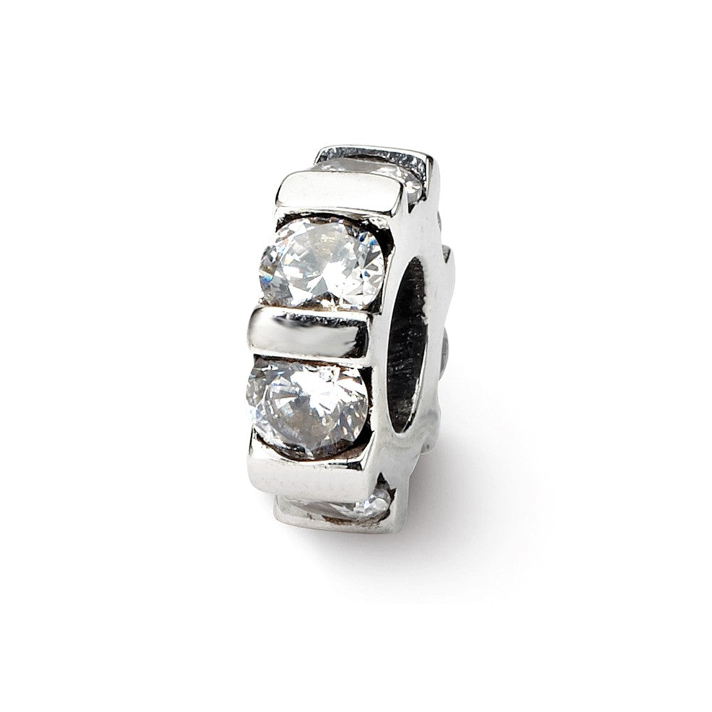 Clear CZ, Wheel Pattern Charm in Silver for 3mm Bead Bracelets, Item B8926 by The Black Bow Jewelry Co.
