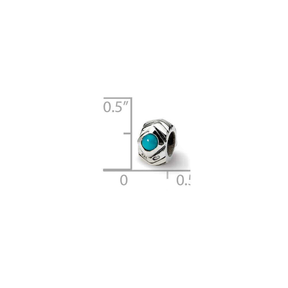 Alternate view of the Sterling Silver and Blue Green CZ Bead Charm by The Black Bow Jewelry Co.
