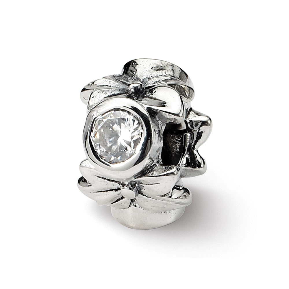 Sterling Silver & Clear CZ Floral Bead Charm, Item B8958 by The Black Bow Jewelry Co.