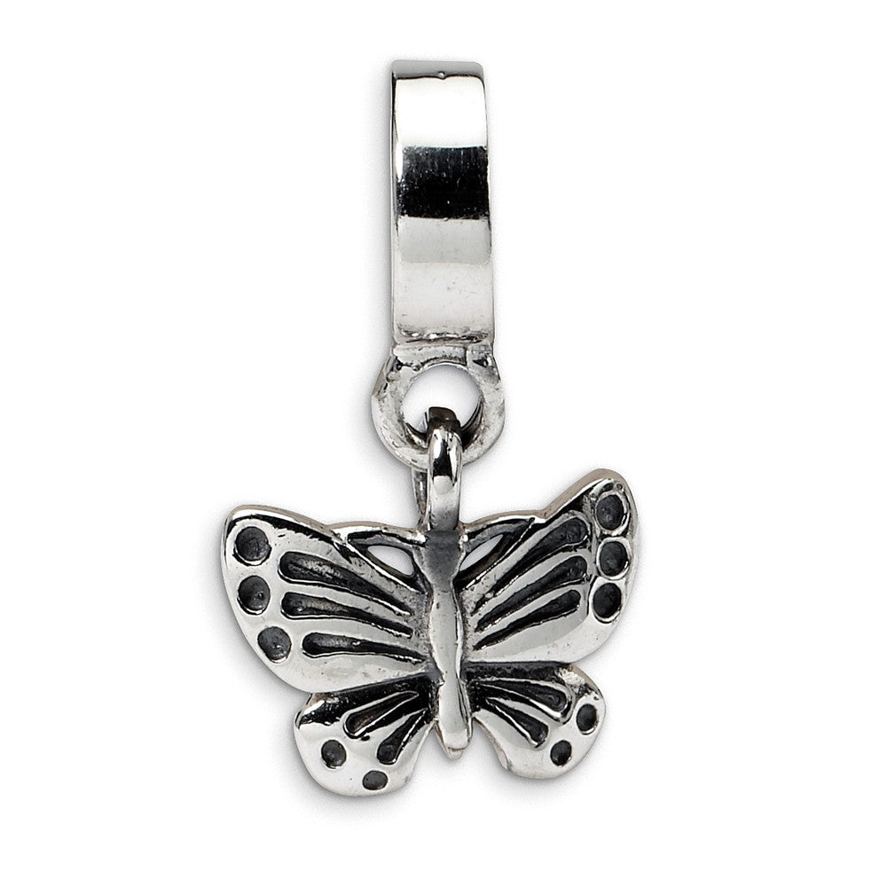 Sterling Silver Butterfly Dangle Bead Charm, Item B8973 by The Black Bow Jewelry Co.