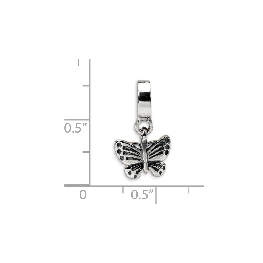 Alternate view of the Sterling Silver Butterfly Dangle Bead Charm by The Black Bow Jewelry Co.
