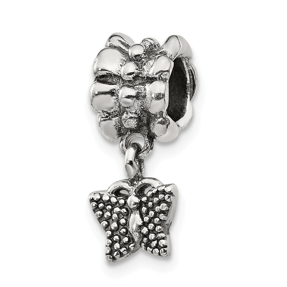 Antiqued Sterling Silver Butterfly Dangle Bead Charm, Item B8974 by The Black Bow Jewelry Co.