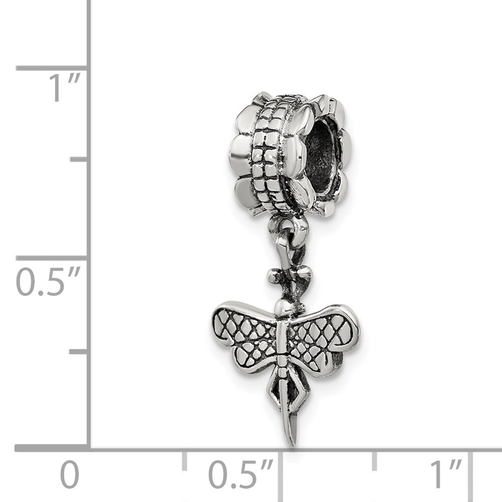 Alternate view of the Sterling Silver Dragonfly Dangle Bead Charm by The Black Bow Jewelry Co.