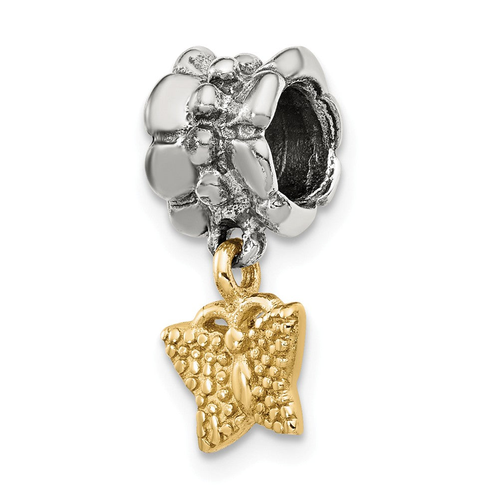 Sterling Silver & 14k Yellow Gold Butterfly Dangle Bead Charm, Item B8983 by The Black Bow Jewelry Co.