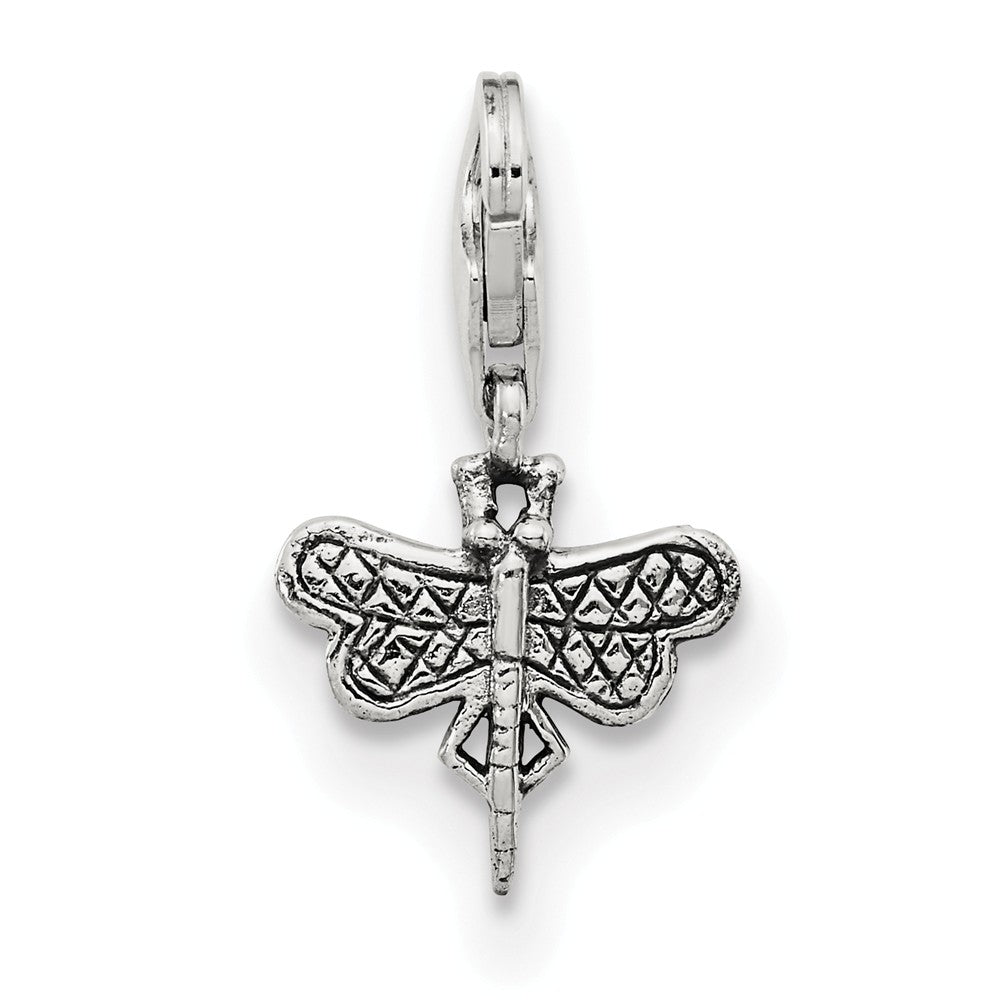 Alternate view of the Sterling Silver Dragonfly Clip-on Bead Charm by The Black Bow Jewelry Co.
