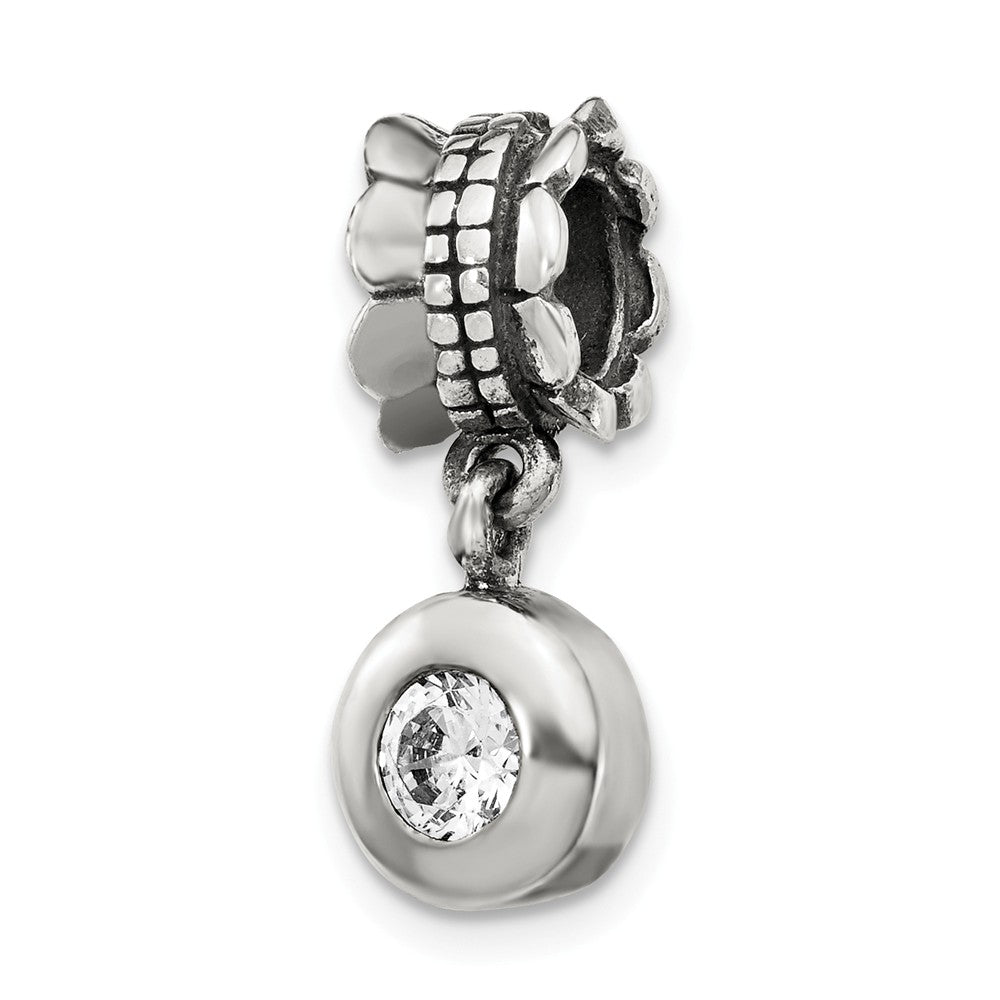 Sterling Silver and Cubic Zirconia Round Bead Charm, Item B9000 by The Black Bow Jewelry Co.