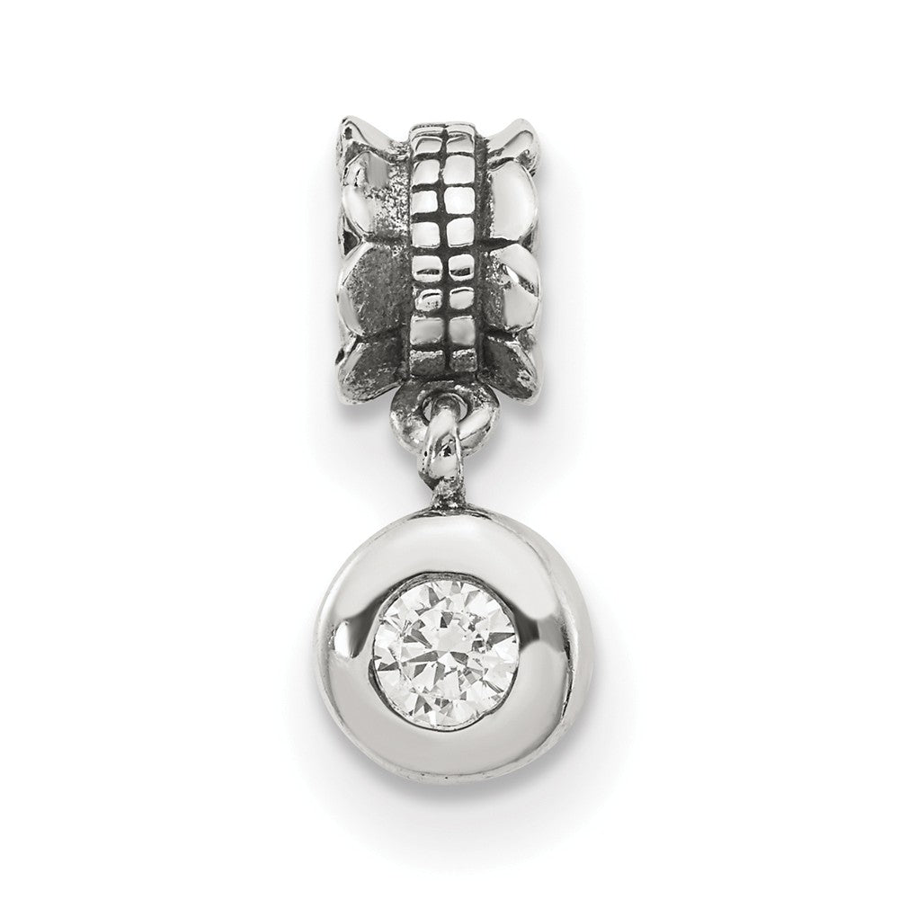 Alternate view of the Sterling Silver and Cubic Zirconia Round Bead Charm by The Black Bow Jewelry Co.