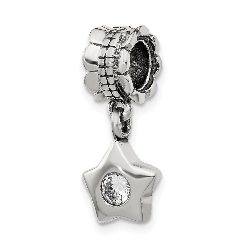 Sterling Silver and Cubic Zirconia Star Bead Charm, Item B9008 by The Black Bow Jewelry Co.