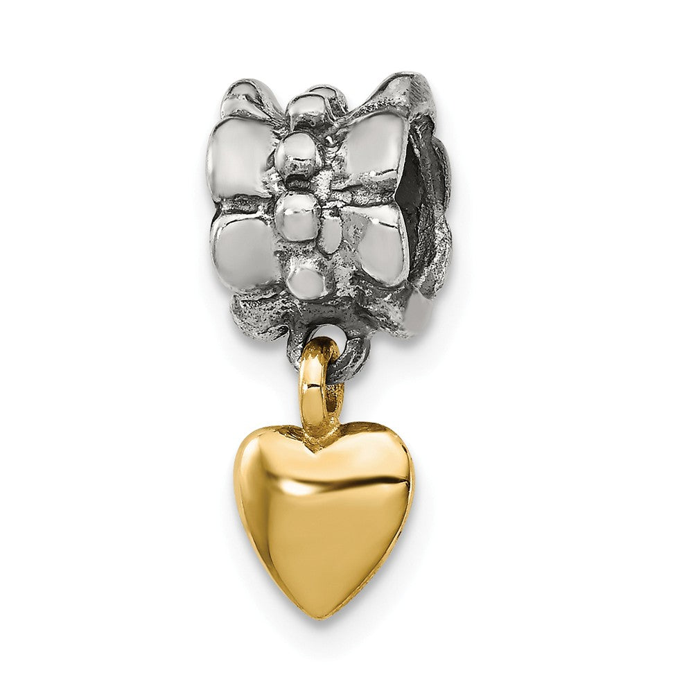 Sterling Silver & 14k Yellow Gold Heart Dangle Bead Charm, Item B9014 by The Black Bow Jewelry Co.