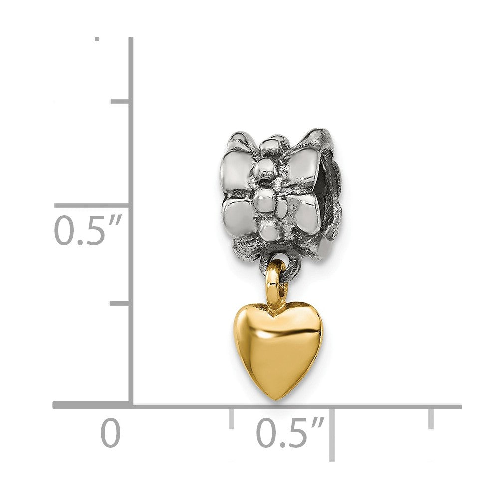 Alternate view of the Sterling Silver & 14k Yellow Gold Heart Dangle Bead Charm by The Black Bow Jewelry Co.