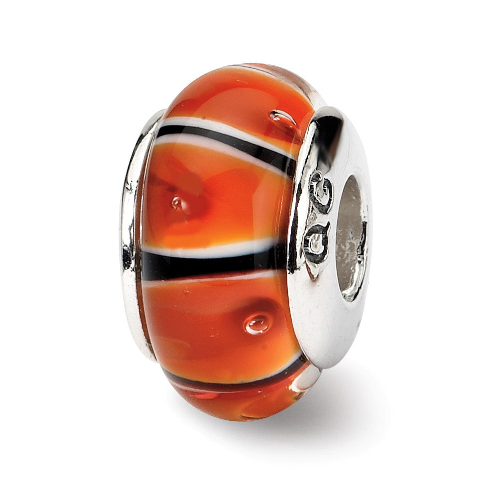 Orange and Black Glass Sterling Silver Bead Charm, Item B9125 by The Black Bow Jewelry Co.