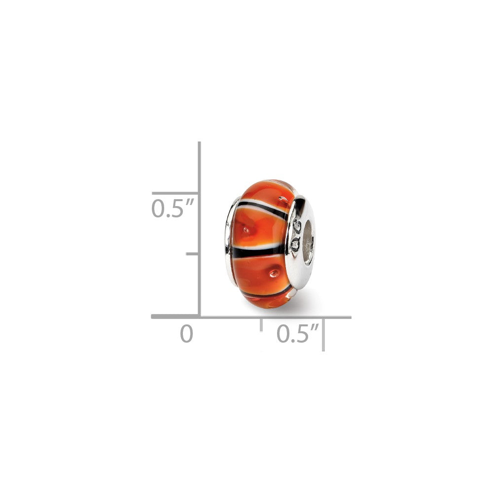 Alternate view of the Orange and Black Glass Sterling Silver Bead Charm by The Black Bow Jewelry Co.