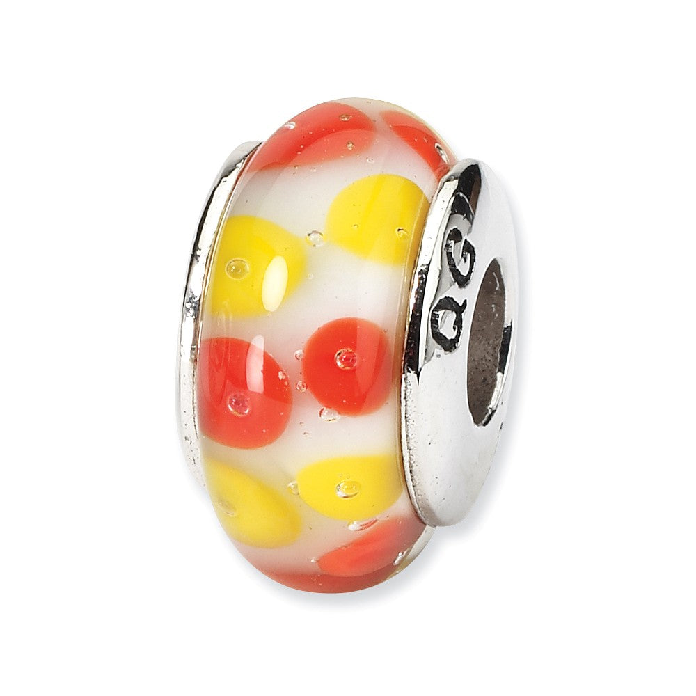 Red and Yellow Dotted Glass Sterling Silver Bead Charm, Item B9135 by The Black Bow Jewelry Co.