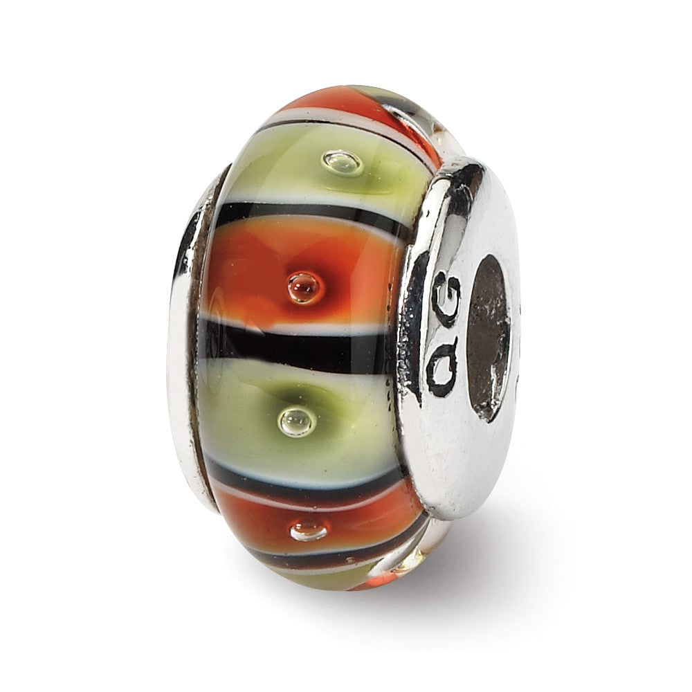 Multi-Color Glass Sterling Silver Bead Charm, Item B9136 by The Black Bow Jewelry Co.