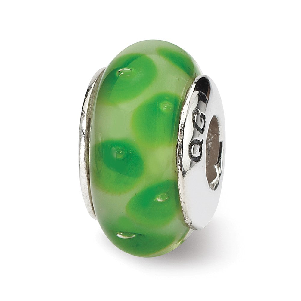 Green Dotted Glass Sterling Silver Bead Charm, Item B9149 by The Black Bow Jewelry Co.