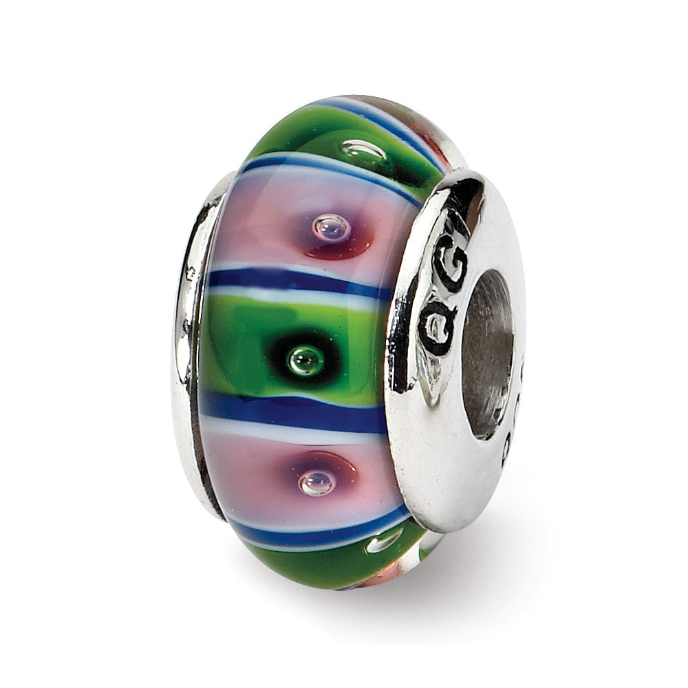 Glass and Sterling Silver Green & Pink Striped Bead Charm, 13.25mm, Item B9151 by The Black Bow Jewelry Co.