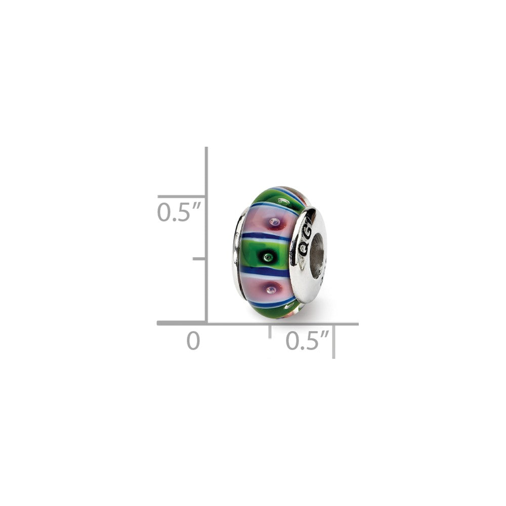 Alternate view of the Glass and Sterling Silver Green & Pink Striped Bead Charm, 13.25mm by The Black Bow Jewelry Co.