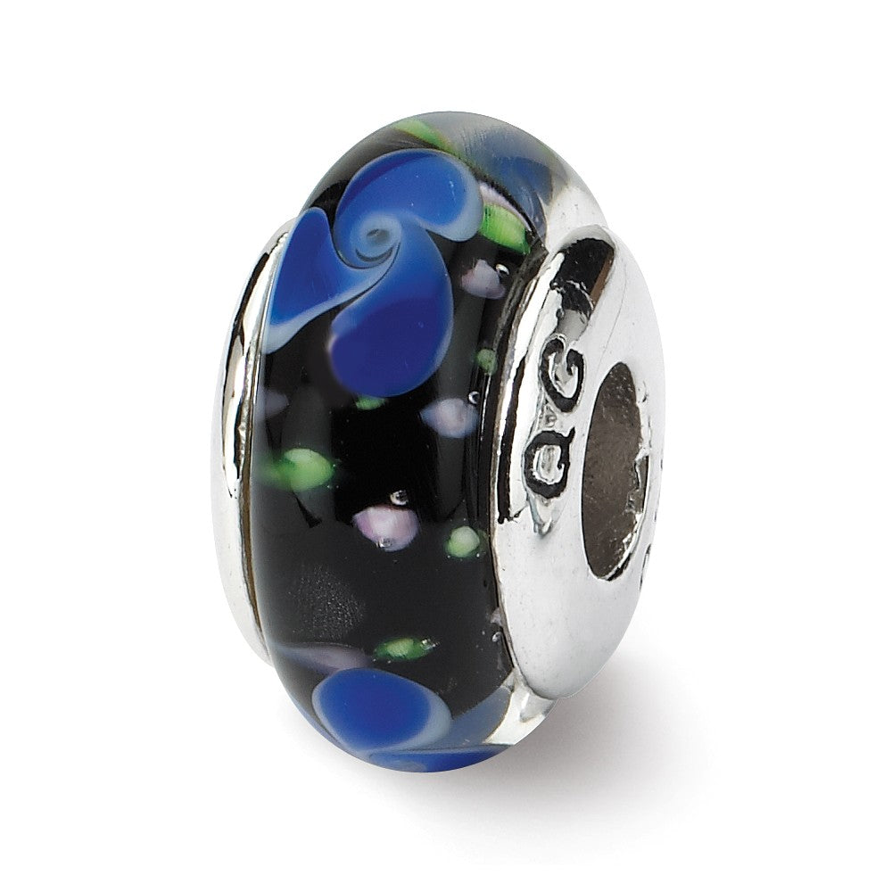 Blue and Black Glass Sterling Silver Bead Charm, Item B9169 by The Black Bow Jewelry Co.