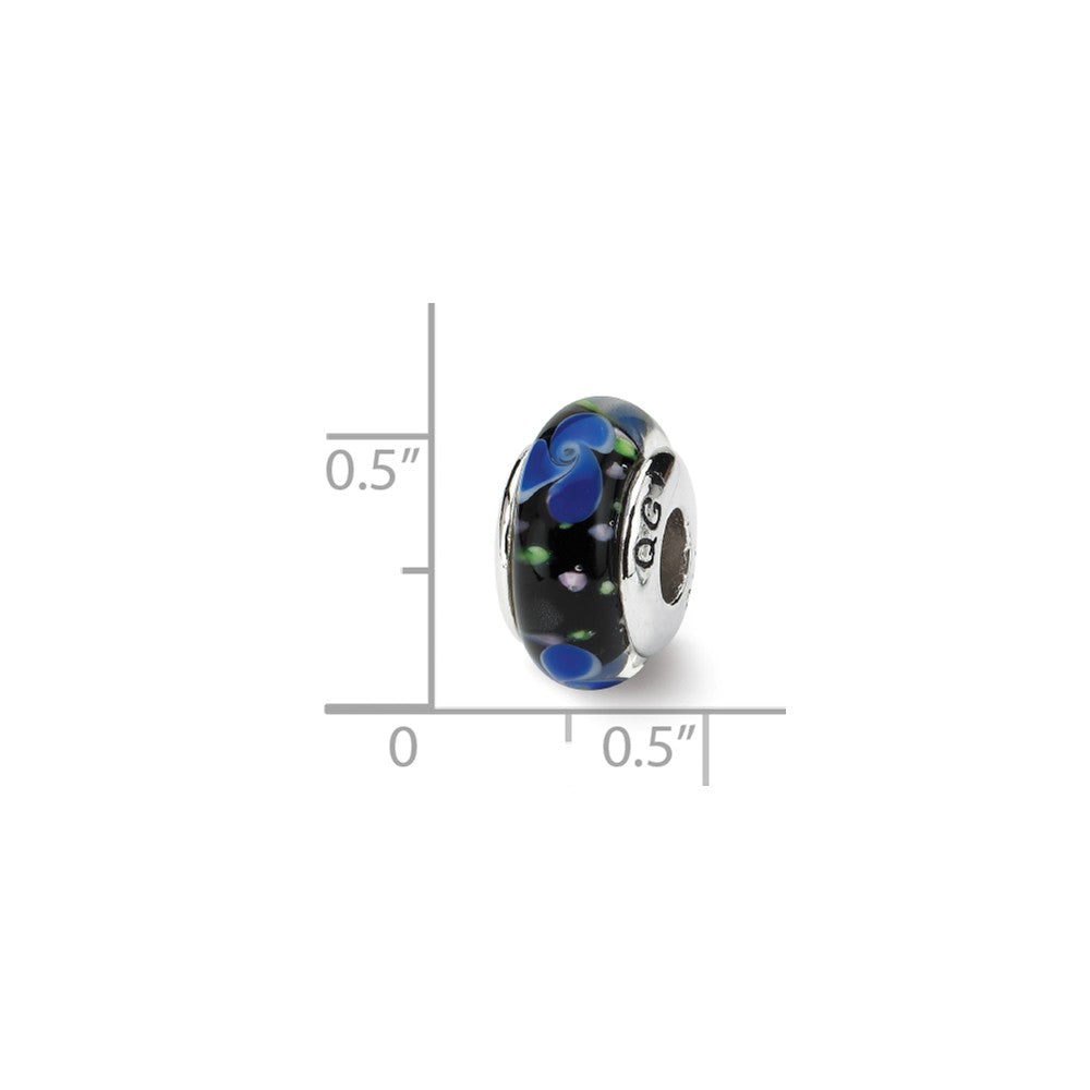 Alternate view of the Blue and Black Glass Sterling Silver Bead Charm by The Black Bow Jewelry Co.