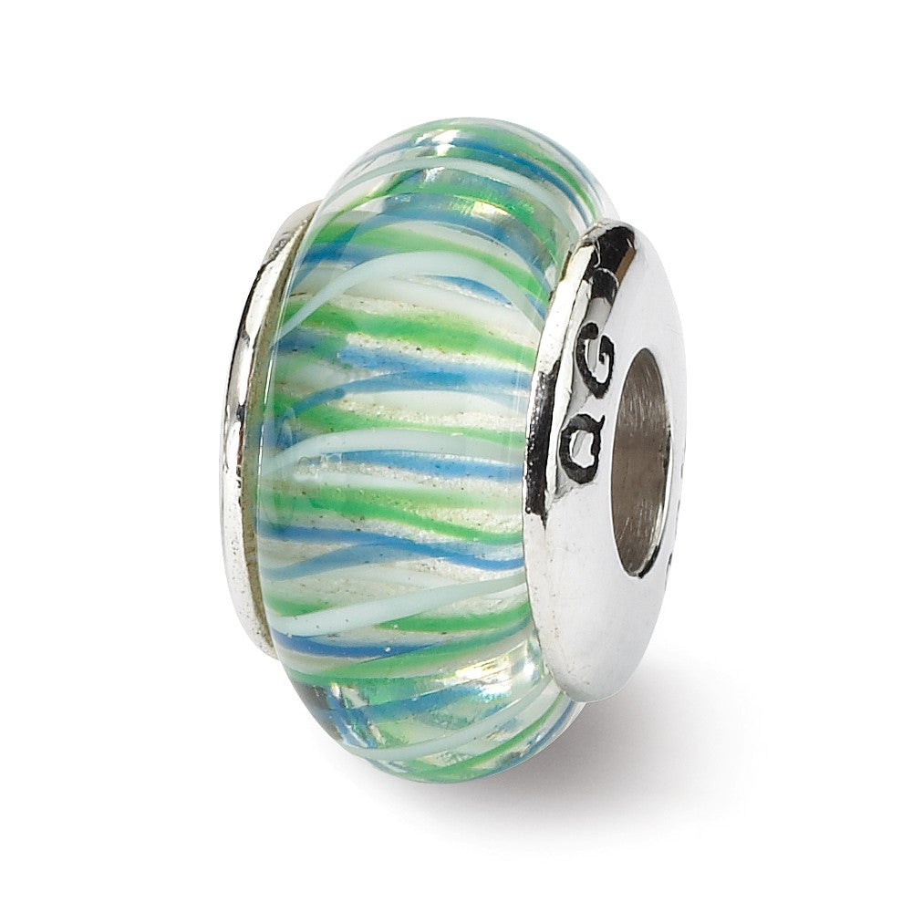 Glass and Sterling Silver Blue & Green Striped Bead Charm, 13.25mm, Item B9177 by The Black Bow Jewelry Co.