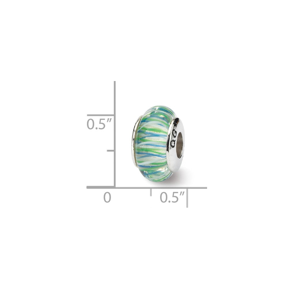 Alternate view of the Glass and Sterling Silver Blue & Green Striped Bead Charm, 13.25mm by The Black Bow Jewelry Co.