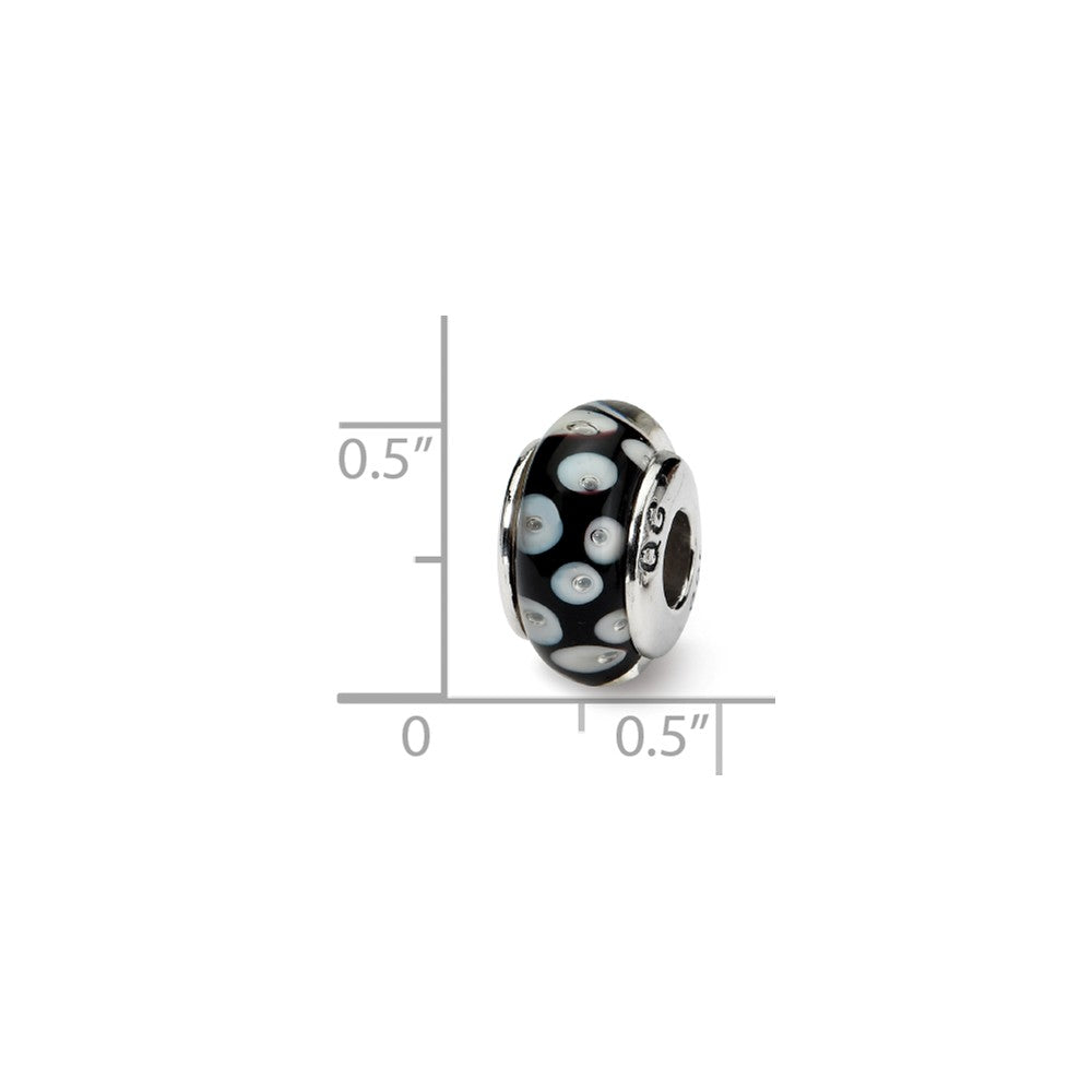 Alternate view of the Glass and Sterling Silver Black & White Dotted Bead Charm, 13.25mm by The Black Bow Jewelry Co.