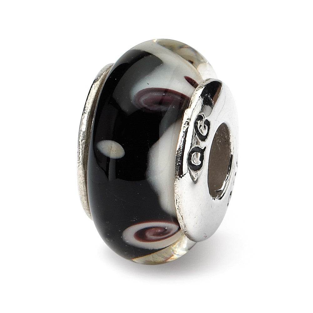 Black and Gray Glass Sterling Silver Bead Charm, Item B9189 by The Black Bow Jewelry Co.