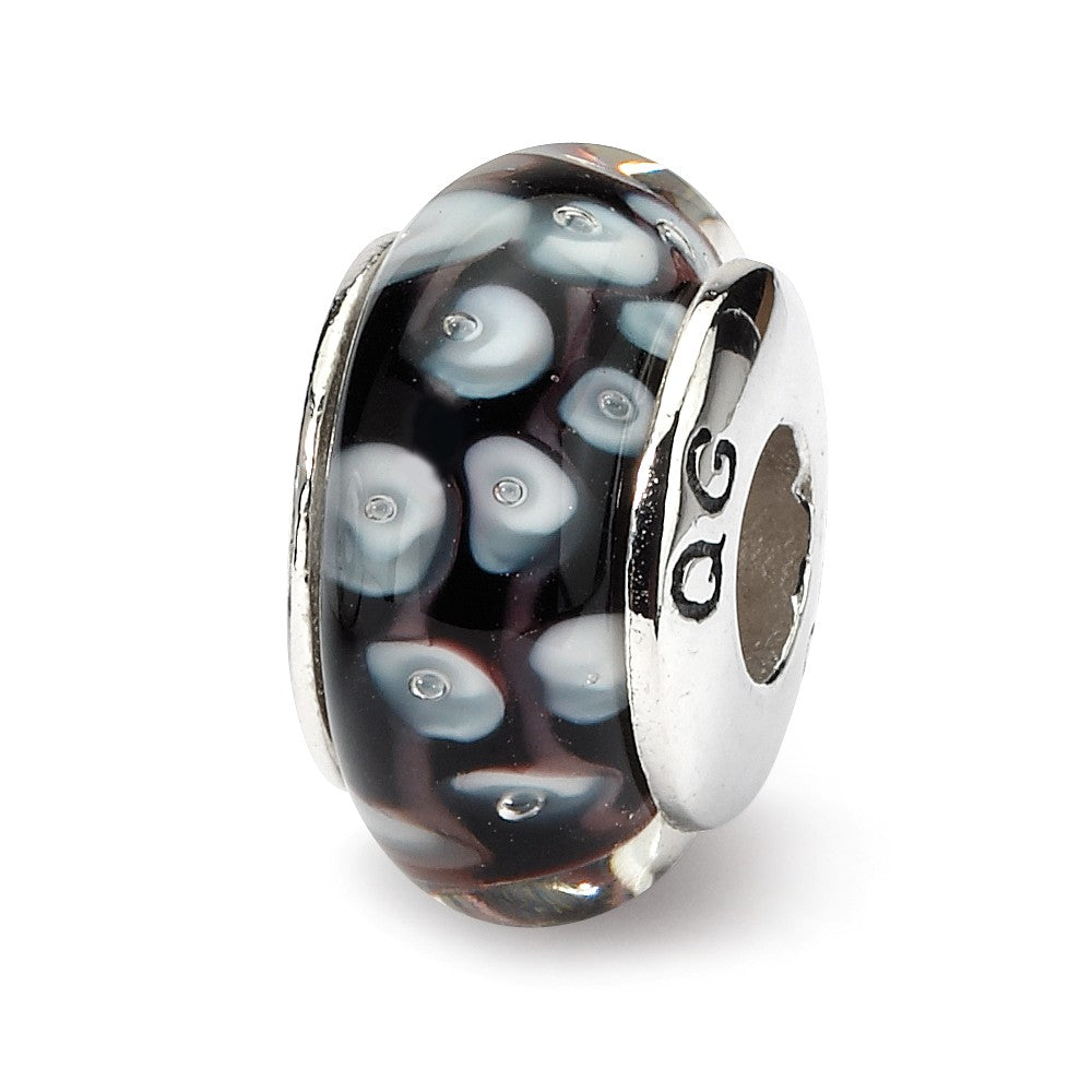 Black & White Dotted Glass Sterling Silver Bead Charm, Item B9190 by The Black Bow Jewelry Co.