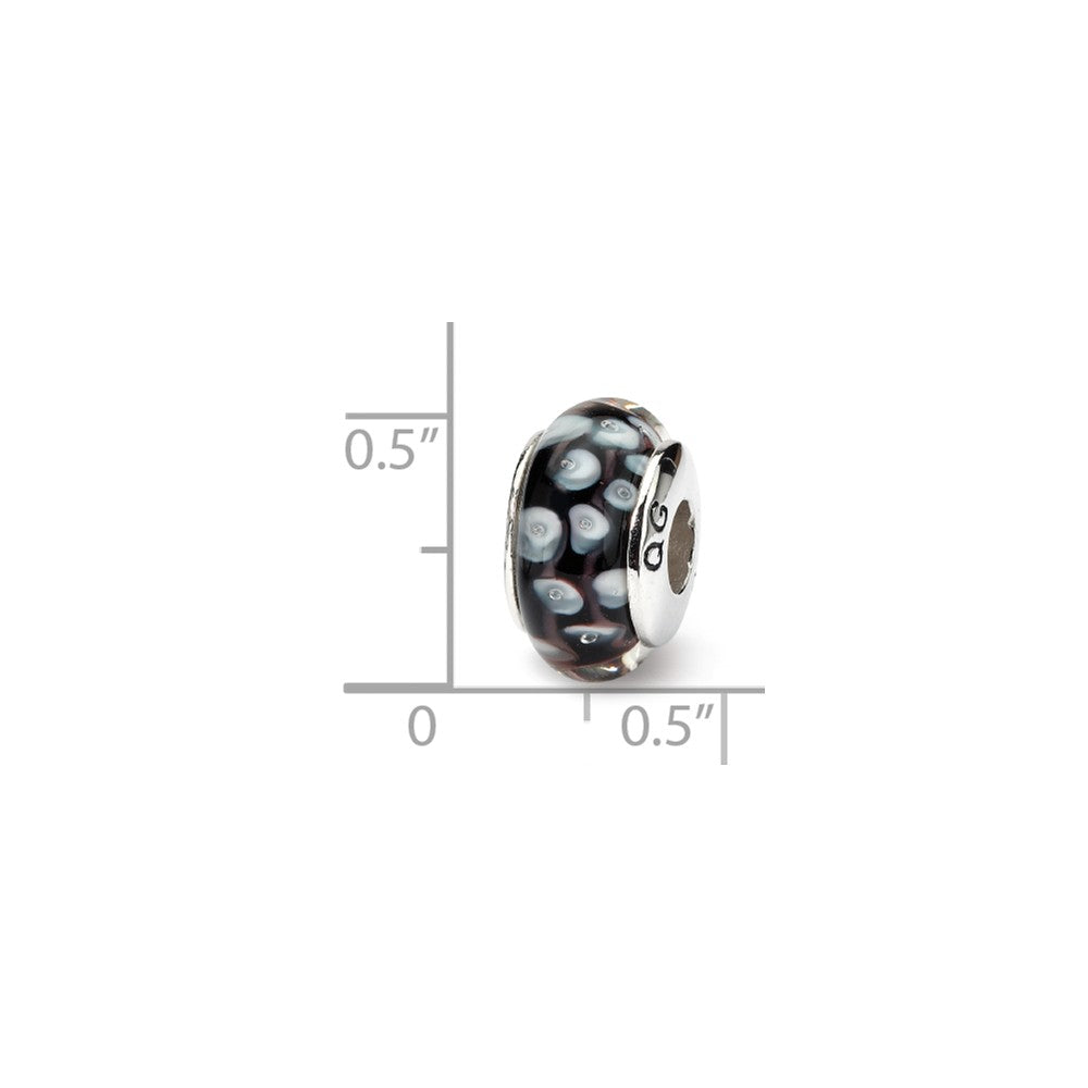 Alternate view of the Black & White Dotted Glass Sterling Silver Bead Charm by The Black Bow Jewelry Co.