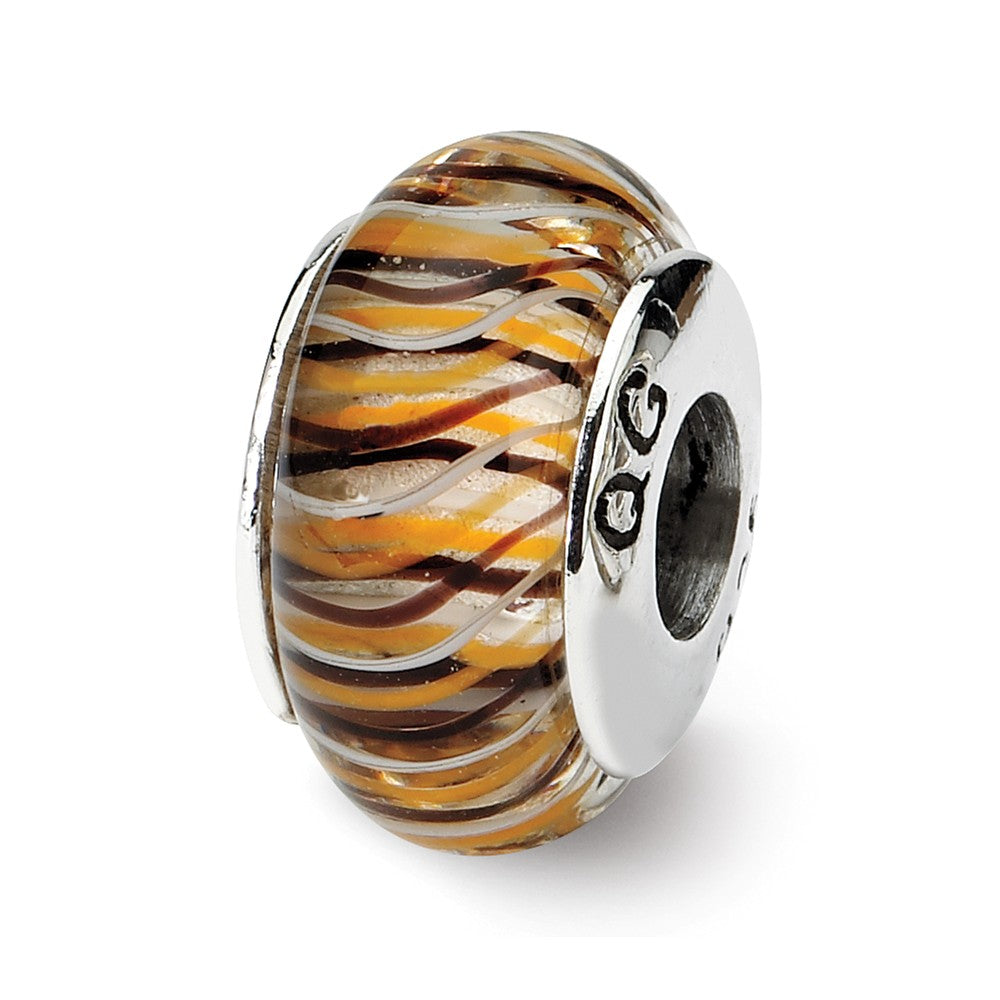 Brown & Yellow Striped Glass Sterling Silver Bead Charm, Item B9194 by The Black Bow Jewelry Co.