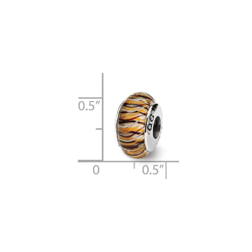 Alternate view of the Brown & Yellow Striped Glass Sterling Silver Bead Charm by The Black Bow Jewelry Co.
