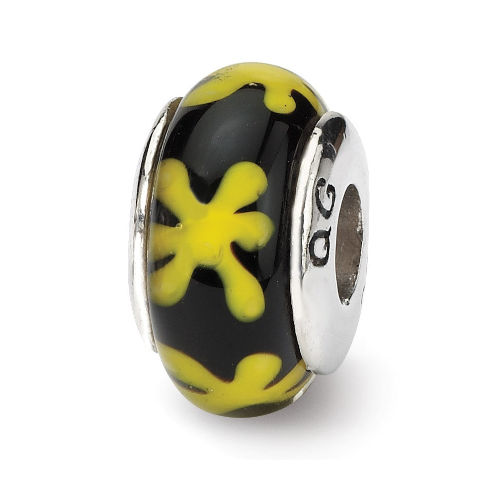 Black & Yellow Floral Glass Sterling Silver Bead Charm, Item B9228 by The Black Bow Jewelry Co.