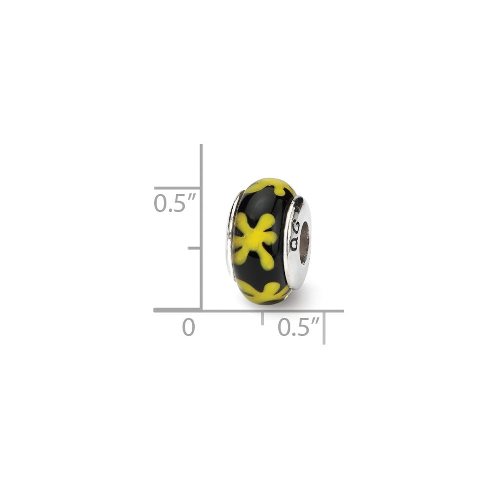 Alternate view of the Black & Yellow Floral Glass Sterling Silver Bead Charm by The Black Bow Jewelry Co.
