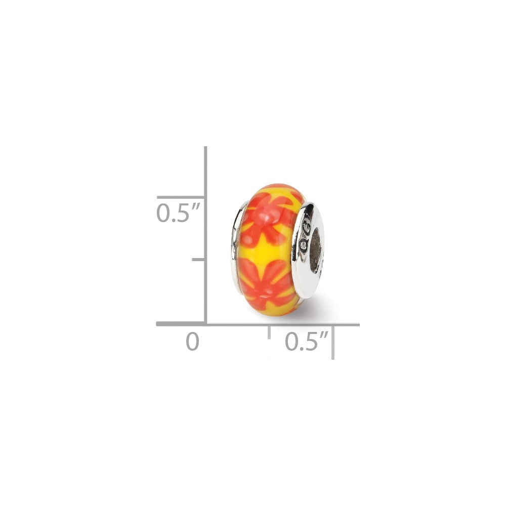 Alternate view of the Yellow & Orange Floral Glass Sterling Silver Bead Charm by The Black Bow Jewelry Co.