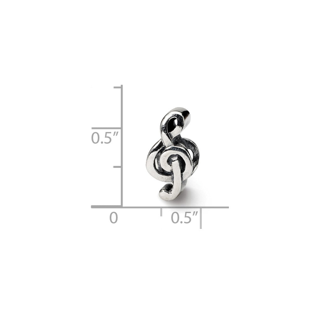 Alternate view of the Sterling Silver Treble Clef Bead Charm by The Black Bow Jewelry Co.