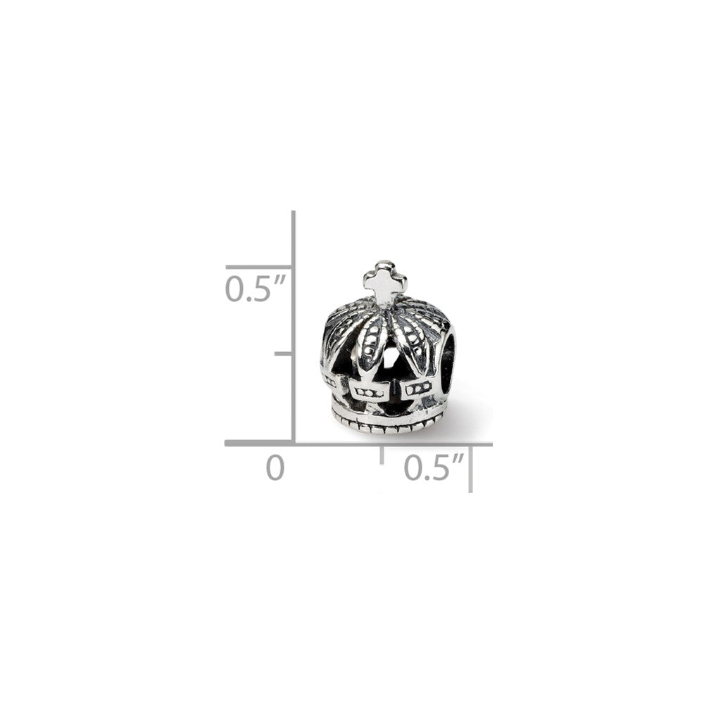 Alternate view of the Royal Crown Charm in Silver for 3mm Charm Bracelets by The Black Bow Jewelry Co.