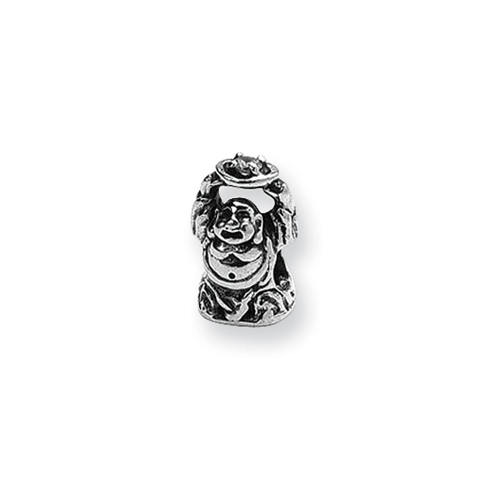 Buddha Sterling Silver Charm w Cubic Zirconia for 3mm Bead Bracelets, Item B9326 by The Black Bow Jewelry Co.